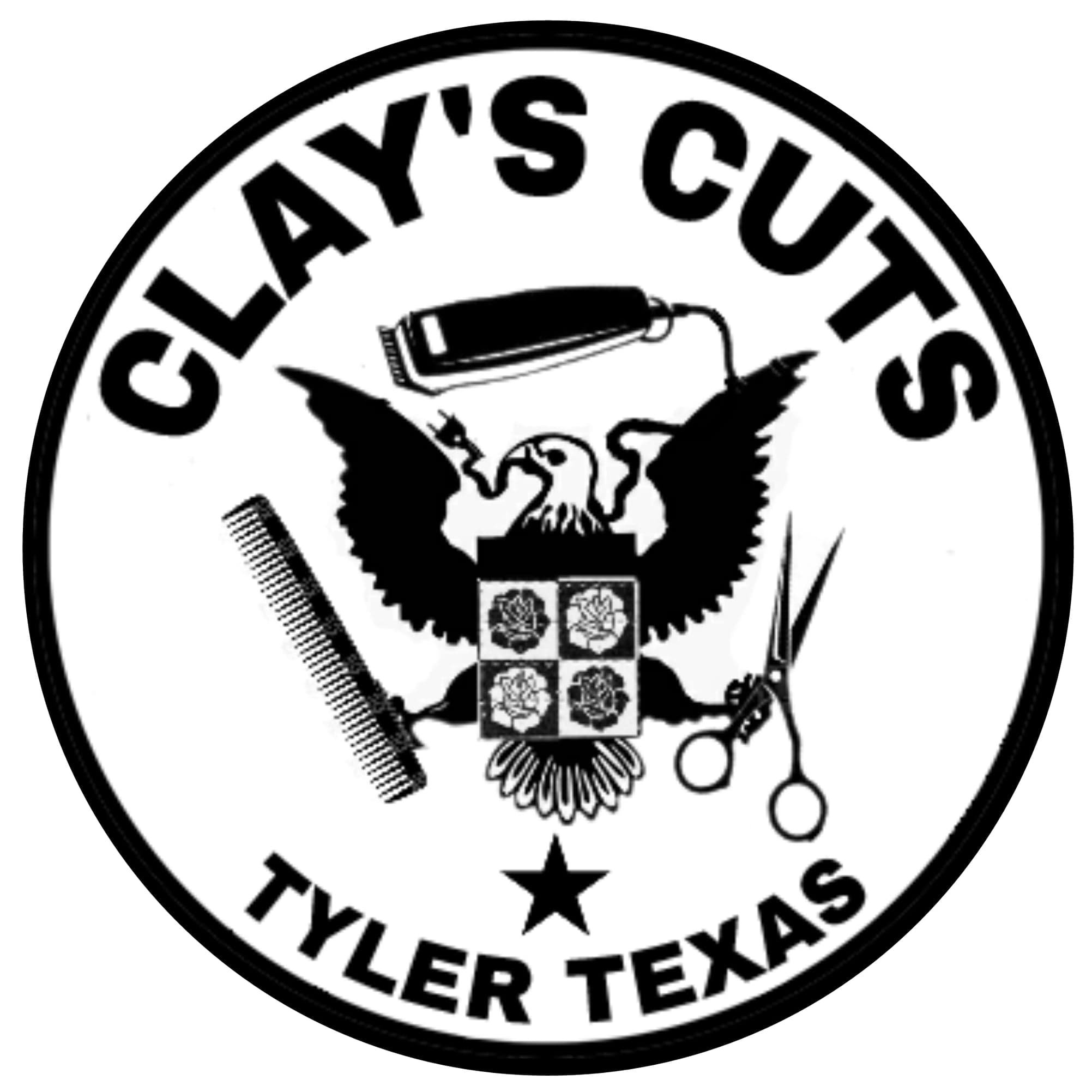 Clay's Cuts Logo - Black Image and Lettering on a White Background